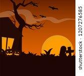 halloween background template... | Shutterstock .eps vector #1207276585