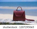 fashion woman burgundy handbag... | Shutterstock . vector #1207295065