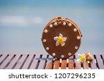 beautiful ladies straw handbag... | Shutterstock . vector #1207296235