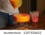 mousse yogurt cake. the girl... | Shutterstock . vector #1207320622
