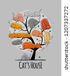 tree with sleeping cats  sketch ... | Shutterstock .eps vector #1207337272