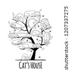 tree with sleeping cats  sketch ... | Shutterstock .eps vector #1207337275