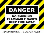 danger no smoking flammable... | Shutterstock . vector #1207347685