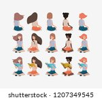 young girls students sitting... | Shutterstock .eps vector #1207349545