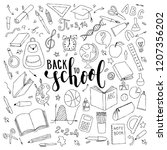 big set of hand drawn doodle... | Shutterstock . vector #1207356202