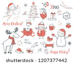 cute christmas animals and... | Shutterstock .eps vector #1207377442