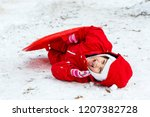 little girl in red laughing... | Shutterstock . vector #1207382728