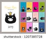 funny pigs  symbol 2019.... | Shutterstock .eps vector #1207385728