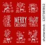 christmas card with ornamental... | Shutterstock .eps vector #1207385812