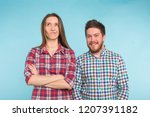 cute funny couple in checkered... | Shutterstock . vector #1207391182