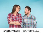 funny young couple laughing and ... | Shutterstock . vector #1207391662