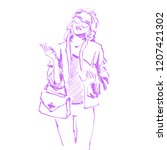 vector sketch of fashionable... | Shutterstock .eps vector #1207421302