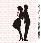 retro man and woman silhouette  ...