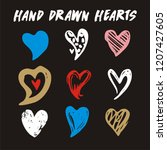 hand drawn  hearts isolated on... | Shutterstock .eps vector #1207427605