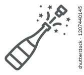 champagne bottle pop line icon  ... | Shutterstock .eps vector #1207440145