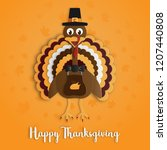 happy thanksgiving day with... | Shutterstock .eps vector #1207440808