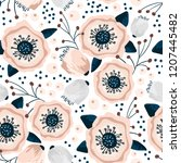 seamless pattern with flowers... | Shutterstock .eps vector #1207445482