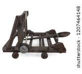 medieval wooden catapult on... | Shutterstock . vector #1207464148