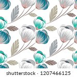 seamless cute floral pattern | Shutterstock .eps vector #1207466125