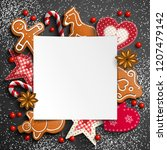 christmas background with... | Shutterstock .eps vector #1207479142