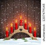 wooden christmas candlestick... | Shutterstock .eps vector #1207479145