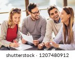 group of four friends having... | Shutterstock . vector #1207480912