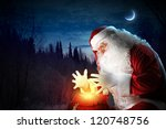 santa with beard and red hat... | Shutterstock . vector #120748756