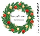 christmas wreath isolated on... | Shutterstock .eps vector #1207498135