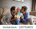 family  parenthood and people... | Shutterstock . vector #1207518022