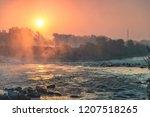 sunrise over river sava in... | Shutterstock . vector #1207518265
