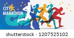 running people set of stylized... | Shutterstock .eps vector #1207525102