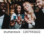 cocktails. together. girls and... | Shutterstock . vector #1207542622