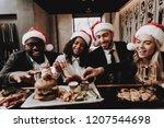 burger. santa's hat. drink... | Shutterstock . vector #1207544698