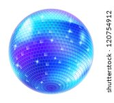Blue Disco Ball on white background for design - stock vector