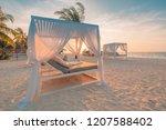 White Beach Canopies At Sunset...