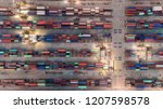 aerial view container ship from ... | Shutterstock . vector #1207598578