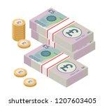 isometric stacks of 5 pound... | Shutterstock .eps vector #1207603405