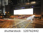big empty billboard at night in ... | Shutterstock . vector #120762442