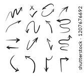 black hand drawn arrow set | Shutterstock .eps vector #1207676692
