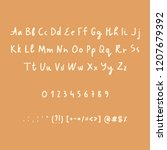 hand drawn alphabet numbers and ... | Shutterstock .eps vector #1207679392