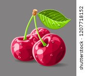 cherries with a leaf and drops... | Shutterstock .eps vector #1207718152