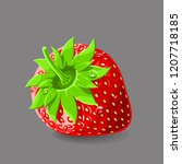 strawberry with a stem and... | Shutterstock .eps vector #1207718185