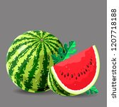 watermelon whole a piece with... | Shutterstock .eps vector #1207718188