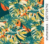 tropical pattern. seamless... | Shutterstock .eps vector #1207734742