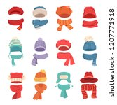 autumn and winter hats with a... | Shutterstock .eps vector #1207771918