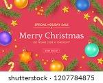 christmas sale banner design... | Shutterstock .eps vector #1207784875