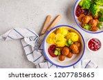swedish traditional meatballs... | Shutterstock . vector #1207785865