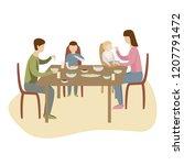 family dinner in kitchen at the ... | Shutterstock .eps vector #1207791472