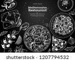 mediterranean cuisine top view... | Shutterstock .eps vector #1207794532