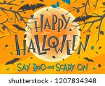 halloween party poster with... | Shutterstock .eps vector #1207834348